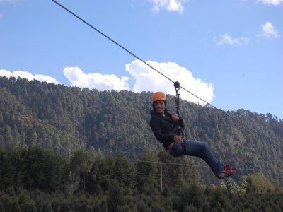 Zipline jump in Rancho de Valle de Bravo