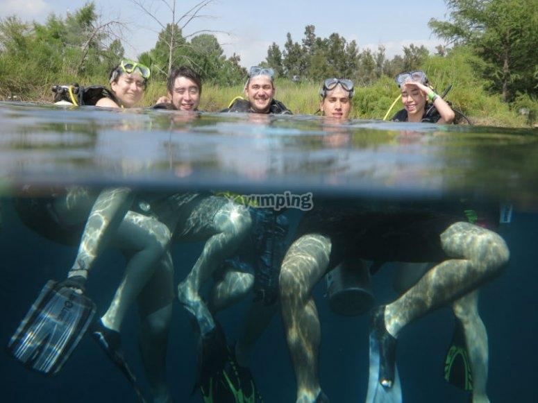 Practicing diving in the Potosina Lagoon of Media Luna