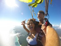 Opening the parachute on Playa del Carmen