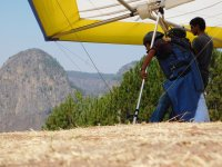 Taking off on the hang glider
