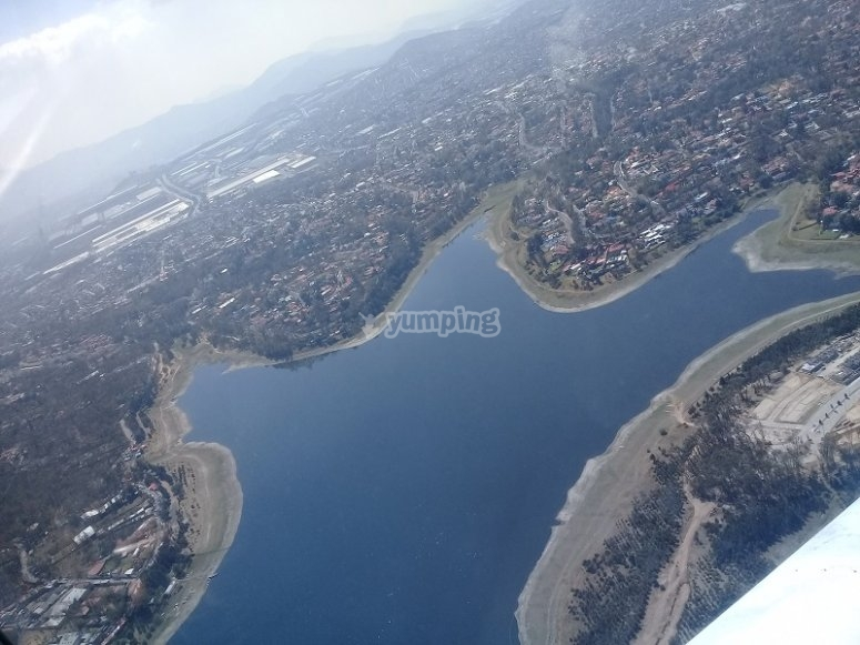 Views of the lagoon during flight