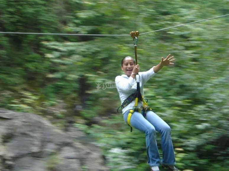 Flying on the zip lines