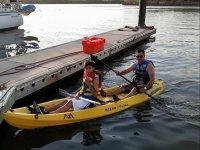 family kayaking