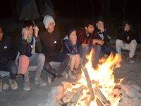 fogata grupo campamento