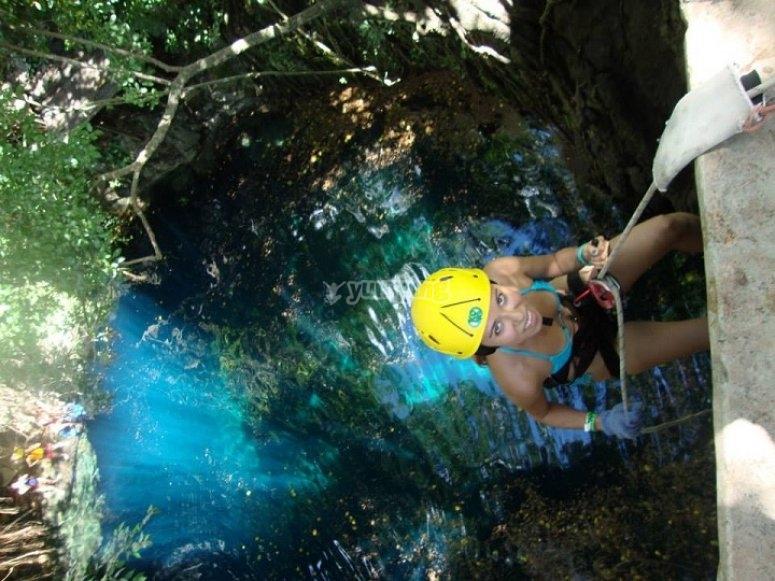 Natural pool rappel