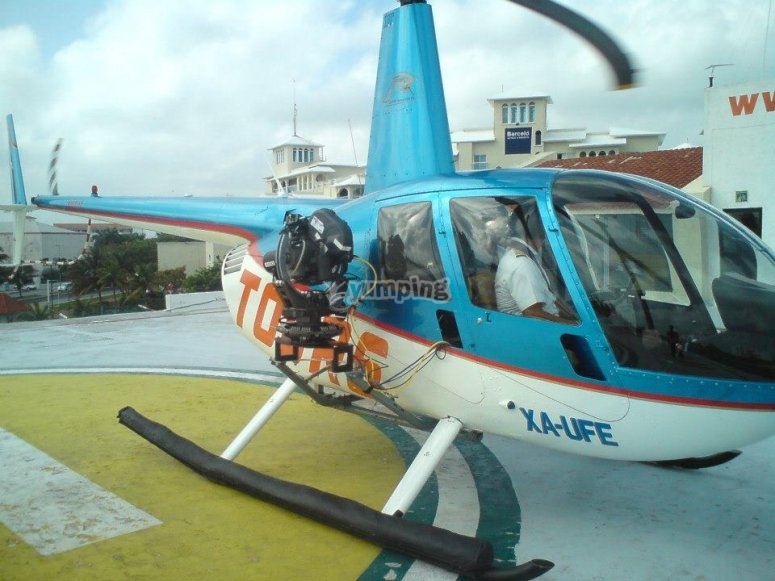 Helicopter before taking off