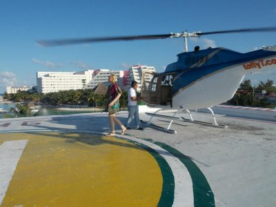 12 minutes of a helicopter flight in Cancun