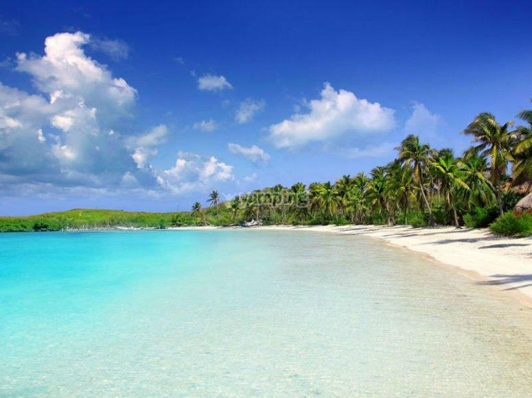 Impresionantes aguas azules en Isla Contoy