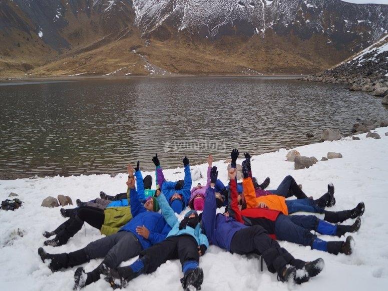 grupo en el nevado