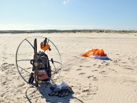 Paramotor ready on the beach