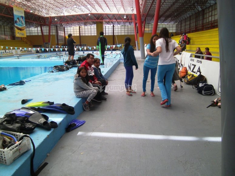 snorkeling classes in a swimming pool