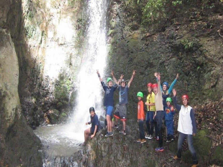Friends in the waterfalls