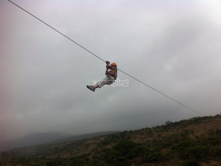 Adrenaline while flying on the zip line