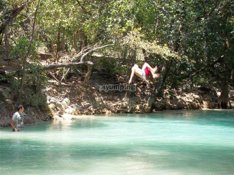 swimming in Agua azul cascades
