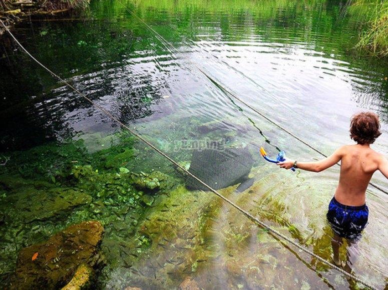 Swimming in Cristal Cenote