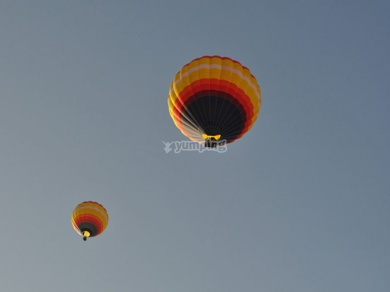 Balloons seen from the ground