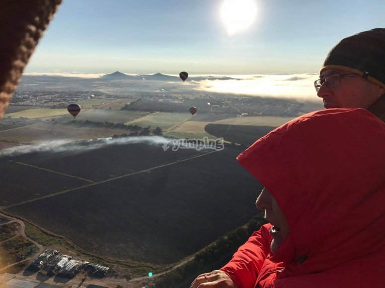 Appreciating the views from the balloon