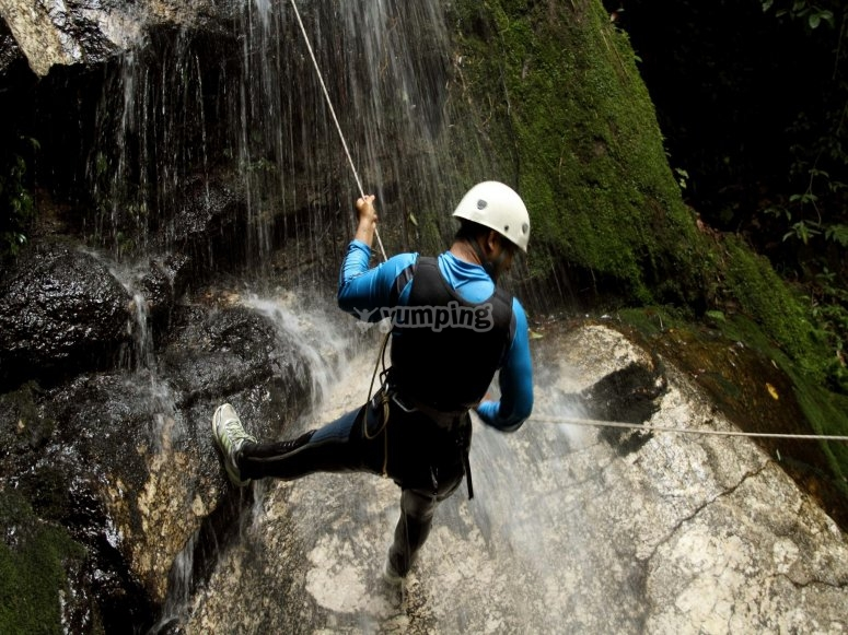 Descent in the waterfall
