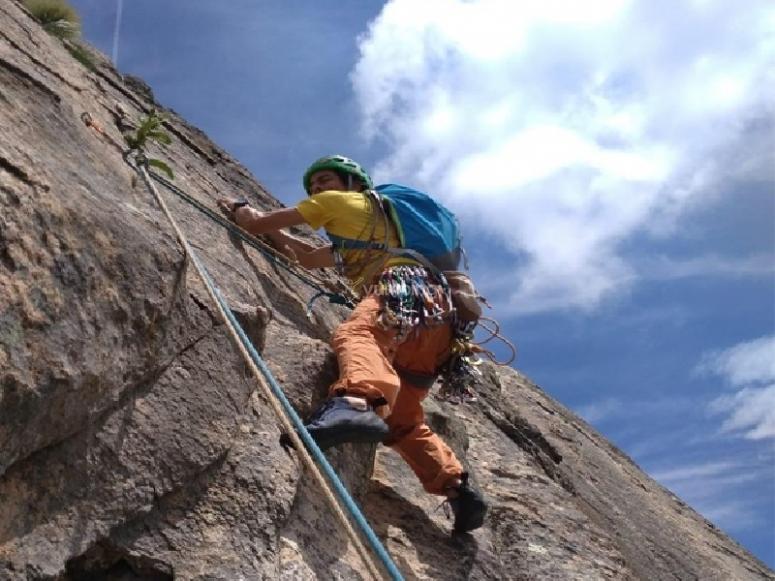 Climbing through the canyon