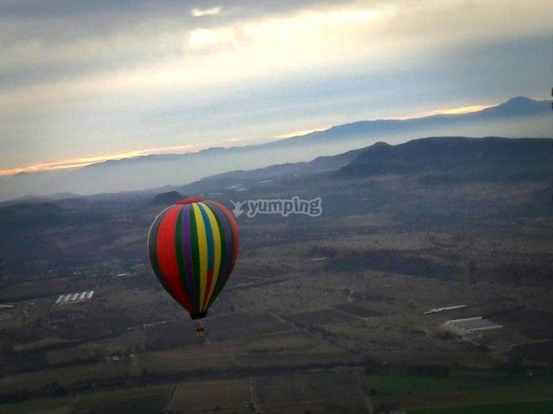 Balloon flying over Tequisquiapan