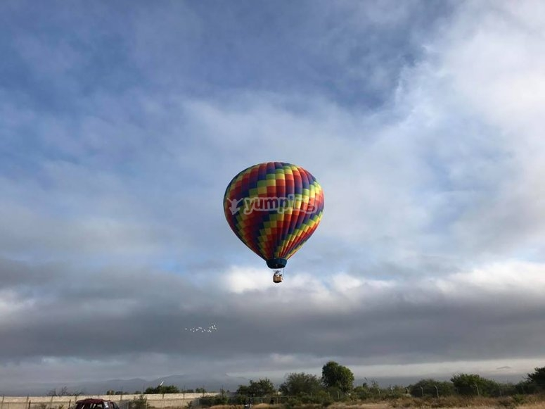 View to land in a balloon