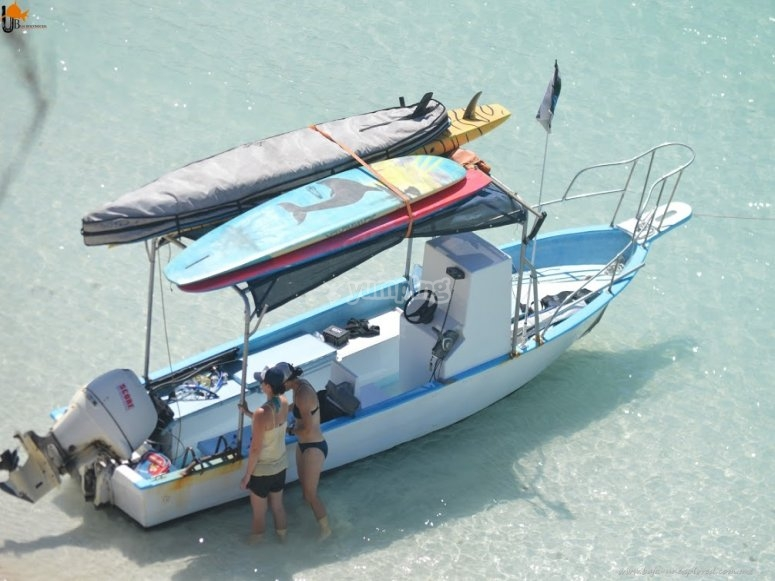 Boat with equipment sup