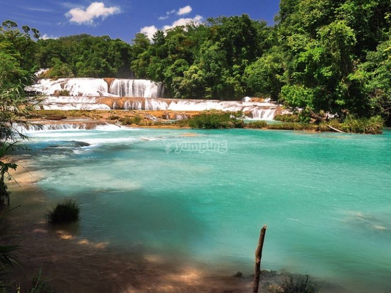 Blue water waterfalls