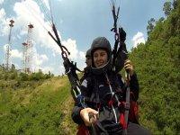 Starting the paragliding flight