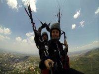 Tandem paragliding flight