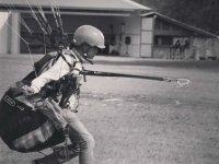 Practicing paragliding flight
