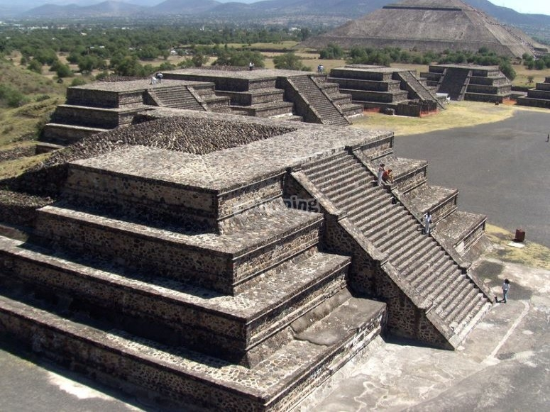 Pyramids of Teotihuacan from the globe