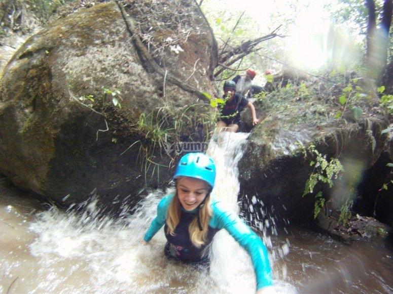 Crossing the waterfall