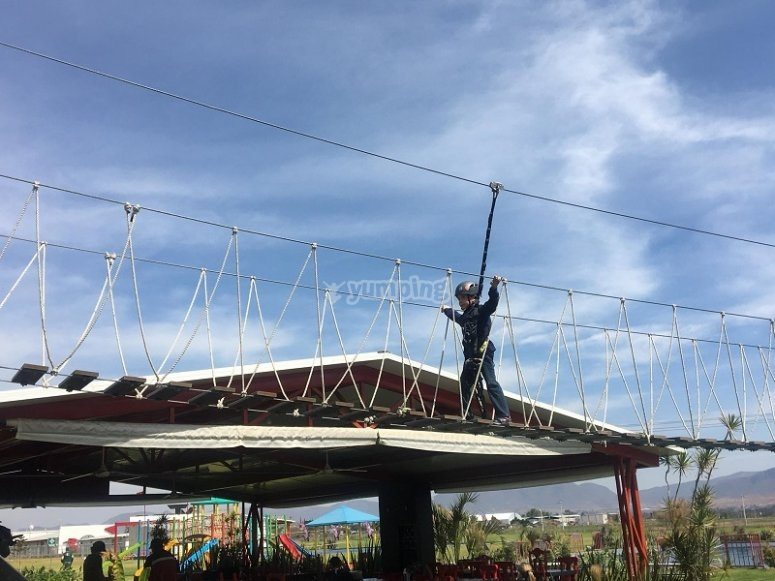 In the zip line of our park in Puebla