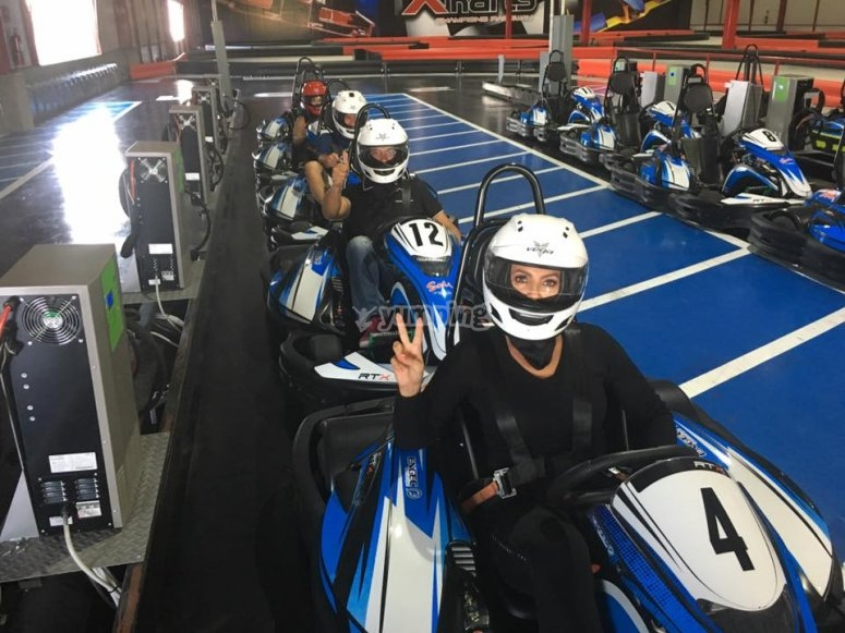 Waiting for the green light in go-karts at Puebla