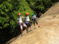 rappel with my wife and daughter