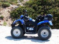 blue quad-motorcycle
