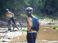 Crossing a river by bike