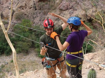 Zip line slide and suspension bridge, Sonora
