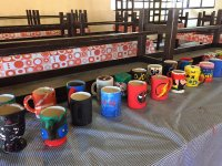 Cups decorated by campers
