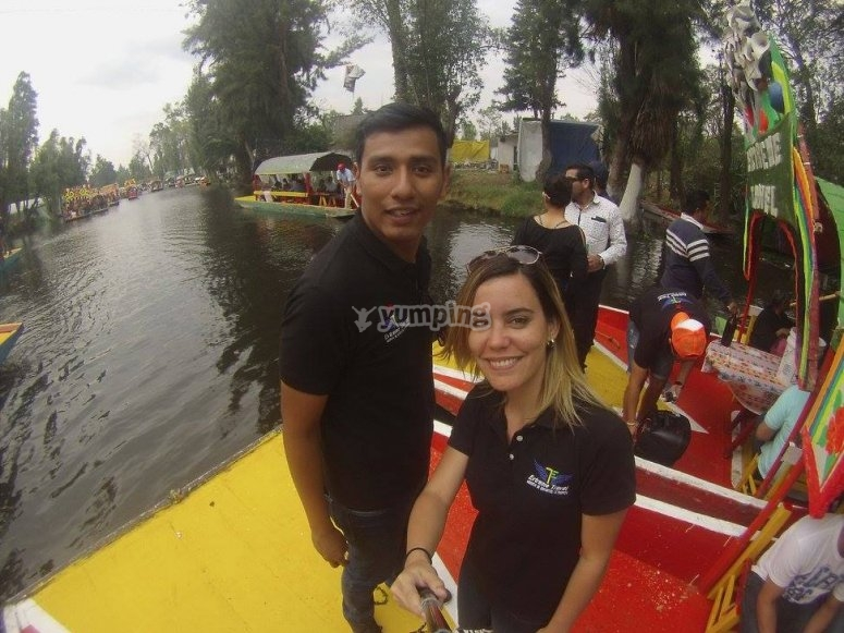 Boat ride through the channels in Xochimilco