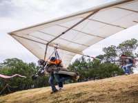Takeoff in hang gliding