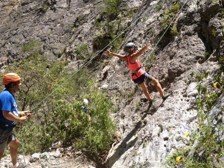 Climbing up the rock