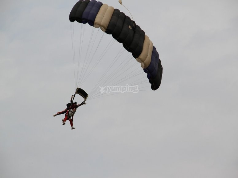 Parachuting along with an instructor