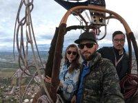 Disfrutando del paseo en globo por huamantla