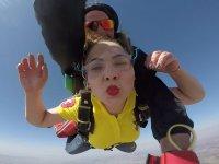 Sending a kiss during the jump