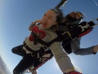 Skydiving with a heart shirt