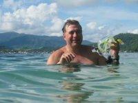 Colocandose el equipo snorkel