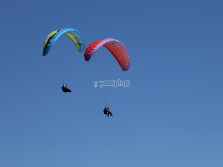 Paragliding flight in pairs