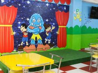 Children's room with animated characters