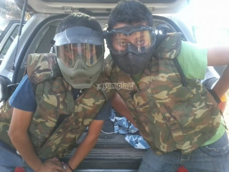 Playing paintball with friends